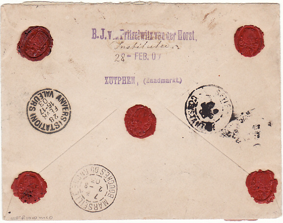 [15107]  NETHERLANDS - ALGERIA…1903 REGISTERED with VALUE DECLARED….  1903 (Feb 28)