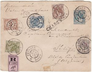 NETHERLANDS - ALGERIA…1903 REGISTERED with VALUE DECLARED….