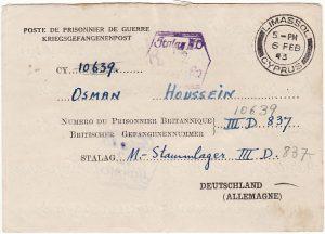 CYPRUS - GERMANY….WW2 TO CYPRIOT POW CENSORED from LIMASSOL ..