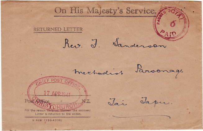 [15487]  NEW ZEALAND…WW2 OHMS RETURNED LETTER ENVELOPE with ENCLOSURE..  1941 (Apr 17)