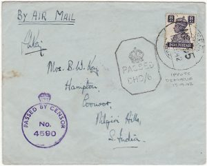 CYPRUS - INDIA…WW2 TRIPLE CENSORED AIRMAIL with INDIAN FPO 55..