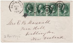 USA - NEW ZEALAND……1875 EARLY MAIL…