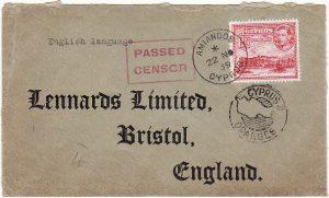CYPRUS - GB... [WW2 CENSORED MAIL from AMIANDOS..