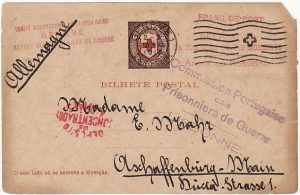 PORTUGUESE COLS...AZORES - GERMANY….WW1 CIVIL INTERNEE via RED CROSS…