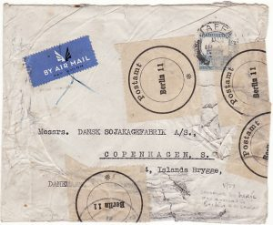 PALESTINE - DENMARK…DAMAGED IN MAIL ON ARRIVAL AT BERLIN….