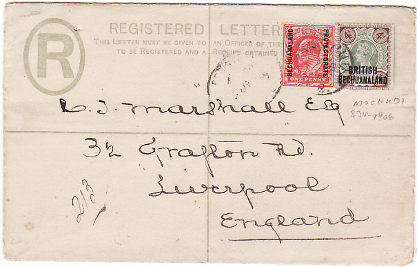 [16961]  BRITISH BECHUANALAND - GB…. GB OVERPRINTS REGISTERED to LIVERPOOL…  1906 (Jul 8)