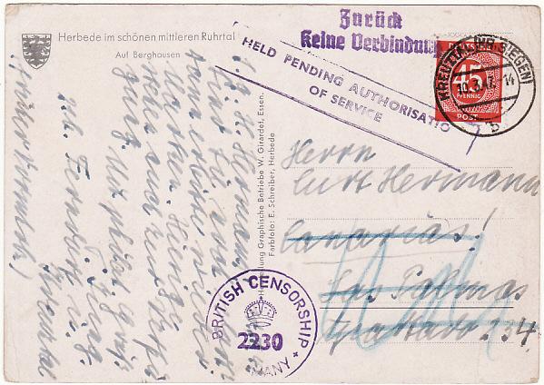 GERMANY - SPAIN….1947 ALLIED OCCUPATION RETURNED TO SENDER