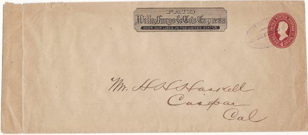 USA ...1887-94 WELLS FARGO & Co. 4c STATIONARY ENVELOPE…