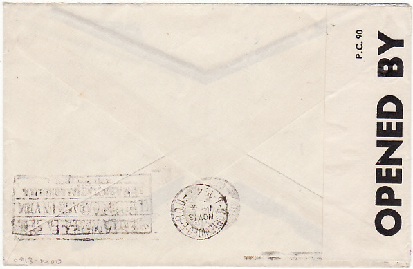 [17284]  URUGUAY - GB..1940 WW2 CENSOREDwith CENSORS ENCLOSURE….  1940 (Nov 13)