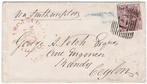 GB - CEYLON..1859 COLOMBO POSTAGE PAID…
