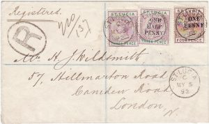 ST. LUCIA - GB.....1892 REGISTERED to LONDON...