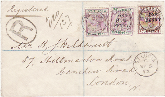 [17551]  ST. LUCIA - GB.....1892 REGISTERED to LONDON...  1892 (May 5)