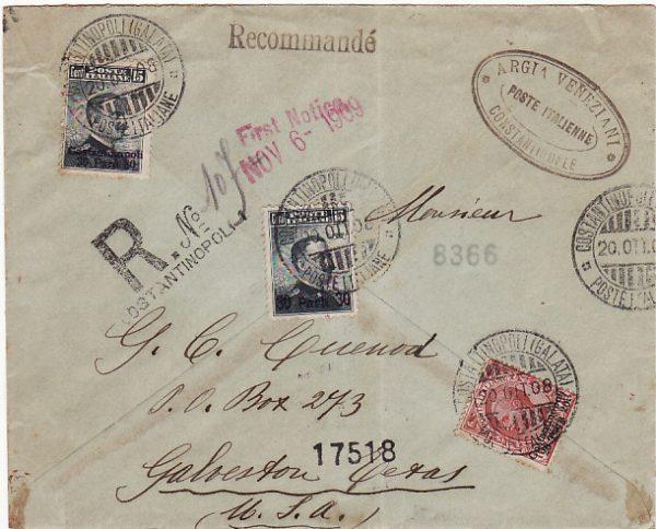 TURKEY - USA...1908 ITALIAN POST OFFICE in CONSTANTINOPLE REGISTERED....