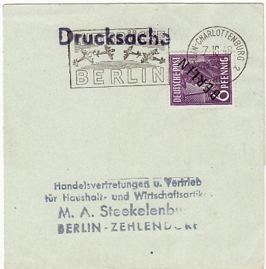 [18579]  GERMANY…WRAPPER USED LOCALLY DURING BERLIN AIR LIFT PERIOD….  1948 (Oct 7)