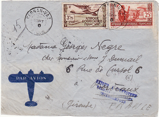 [18610]  FRENCH EEQUATORIAL AFRICA - FRANCE…WW2 SERVICE SUSPENDED…  1940 (Sep 28)