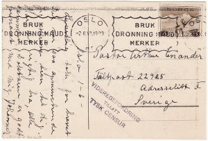 NORWAY - SWEDEN...WW2 CENSORED POSTCARD...