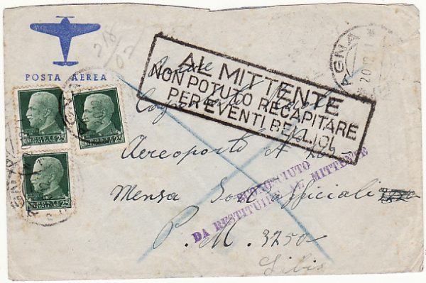 ITALY - LIBYA …WW2 NORTH AFRICA RETURN TO SENDER.....
