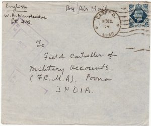 CYPRUS - INDIA…WW2 AIRMAIL from INDIAN CAMP P.O. L-68…