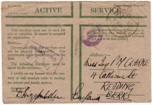 TUNISIA - GB…..WW2 CENSORED HONOUR ENVELOPE with INDIAN FPO 16….