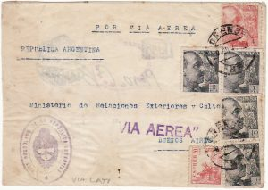 SPAIN -  ARGENTINA…WW2 CONSULAR MAIL FLOWN LATI…