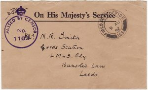 CYPRUS - EGYPT...WW2 CENSORED O.H.M.S. ENVELOPE to LMS RAILWAY…