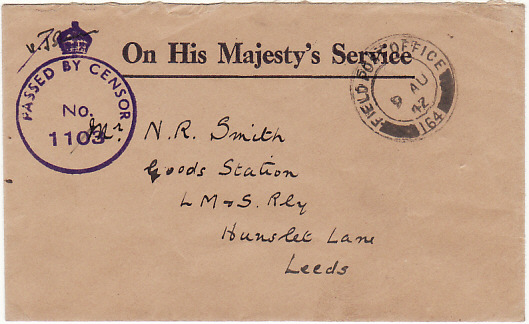 [18713]  CYPRUS - EGYPT...WW2 CENSORED O.H.M.S. ENVELOPE to LMS RAILWAY…  1942 (Aug )