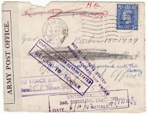 GB - CYPRUS...WW2 OFFICIALLY SEALED & RETURNED TO SENDER…