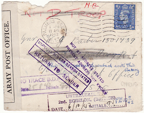 [18719]  GB - CYPRUS...WW2 OFFICIALLY SEALED & RETURNED TO SENDER…  1942 (Apr 13)