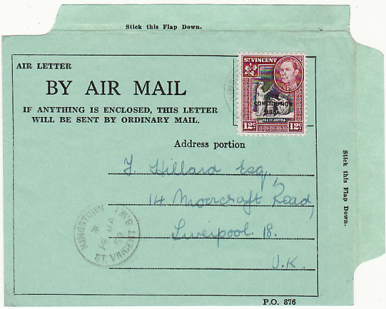 [18725]  ST. VINCENT - GB…FIRST AIR LETTER FOR USE ON THE ISLAND…  1952 (Jan 14)