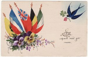 BELGIUM - GB…. WW1 BRITISH FORCES HAND PAINTED CARD…