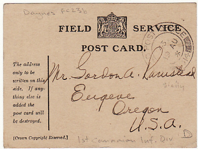 [12230]  ITALY - USA….WW2 BRITISH FIELD SERVICE CARD USED by CANADIAN DIVISION ...  1943 (Aug 15)