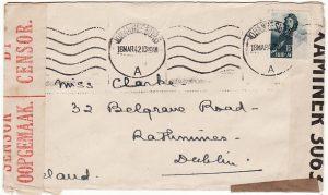 SOUTH AFRICA-IRELAND [WW2 DOUBLE CENSORED]