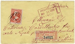 USA - ITALY….1888 REGISTERED NEW YORK to RIONERO IN VALTURE…