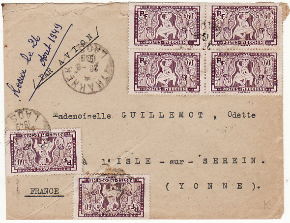 [15760]  LAOS - FRANCE...AIRMAIL from THAKHET…  1949 (Aug 20)