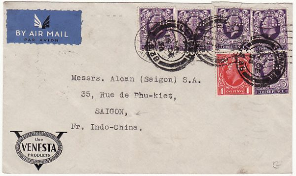 GB-INDO-CHINE...AIRMAIL with PERFINS via FRENCH SERVICE..
