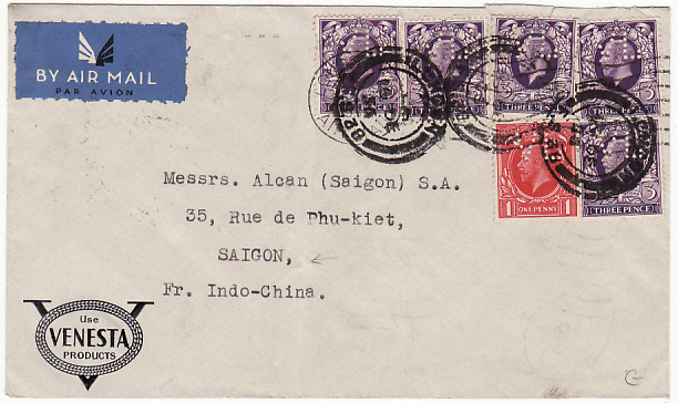 [15360]  GB-INDO-CHINE...AIRMAIL with PERFINS via FRENCH SERVICE..   1936 (Dec 16)