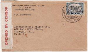 THAILAND-USA...WW2 DOUBLE CENSORED Via HONG KONG…