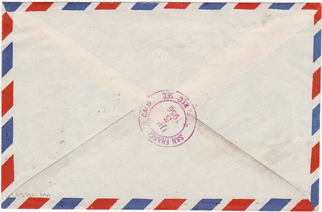 [16073]  THAILAND-USA...REGISTERED AIRMAIL..  1956 (Jun 30)