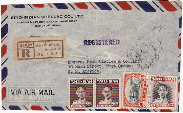 THAILAND-USA...REGISTERED AIRMAIL..