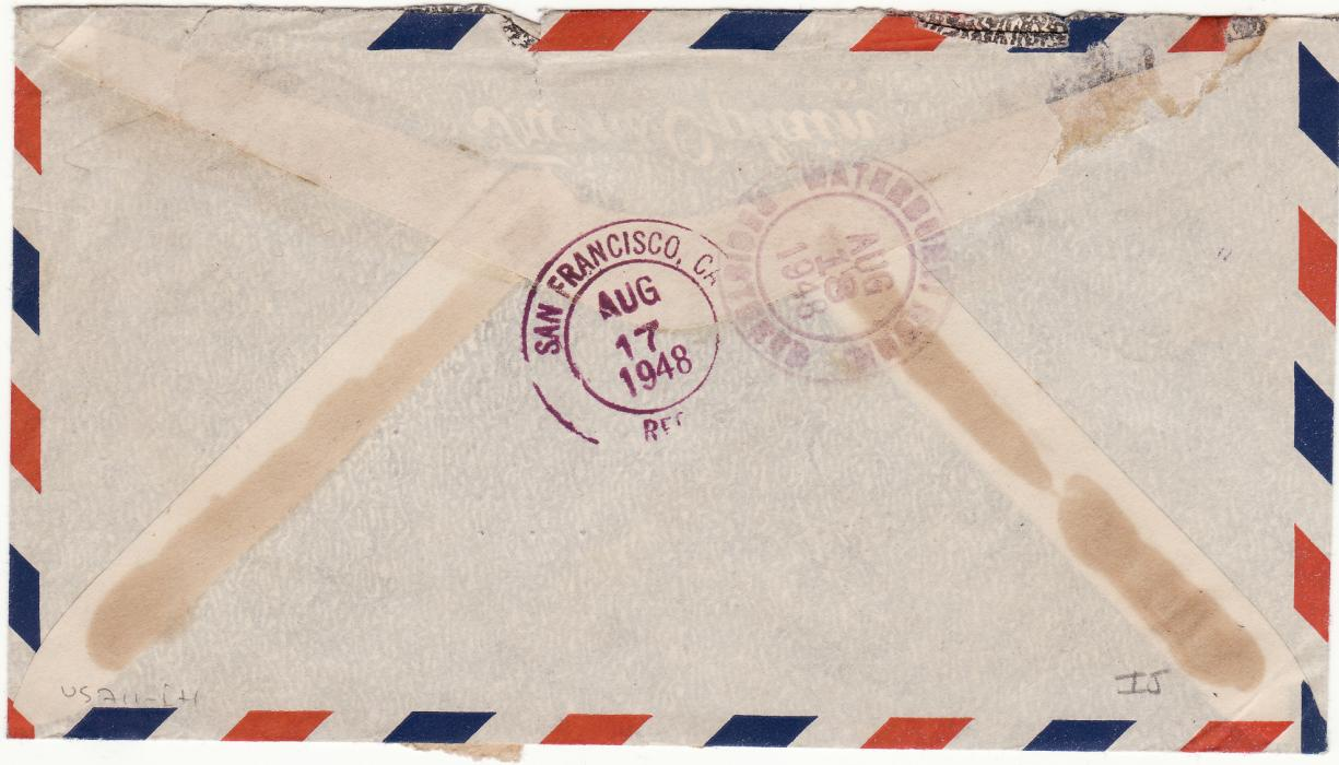 [16076]  THAILAND-USA…..REGISTERED AIRMAIL…  1948 (Aug 13)