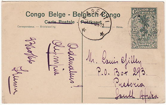 [16026]  BELGIAN CONGO - SOUTH AFRICA….   1923 (May 20)