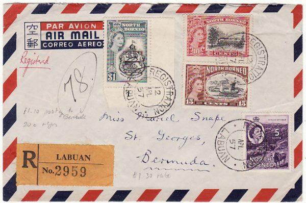 NORTH BORNEO - BERMUDA….REGISTERED AIRMAIL…