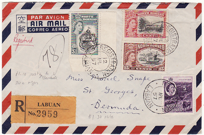 [16467]  NORTH BORNEO - BERMUDA….REGISTERED AIRMAIL…  1957 (Apr 12)