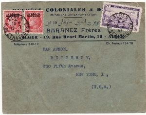 ALGERIA - USA …1947 OVERPRINTS on FRENCH ADHESIVES…