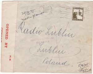 PALESTINE - POLAND..1945 RETURN TO SENDER NO SERVICE..