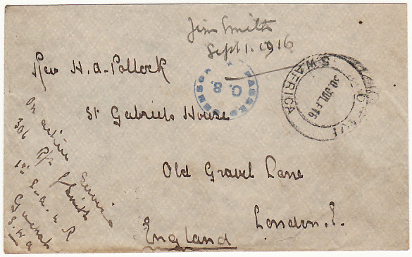 [15850]  SOUTH WEST AFRICA - GB...WW1 CENSORED…  1916 (Jul 30)