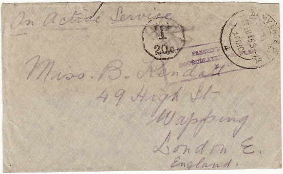 [15852]  SOUTH WEST AFRICA - GB...WW1 CENSORED & TAXED…  1915 (Feb 17)