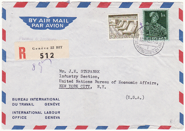 [16428]  SWITZERLAND - USA...INTERNATIONAL LABOUR OFFICE…  1957 (Dec 18)