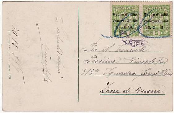 [17109]  TRIESTE...POST WW1 VENEZIA GIULI AUSTRIAN TERRITORY OCCUPIED BY ITALY…  1918 (Nov 30)