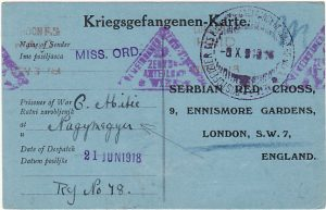 HUNGARY - GB…1918 POW via SERBIAN RED CROSS…